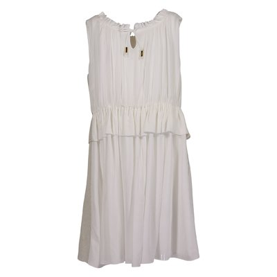 White golden details viscose dress