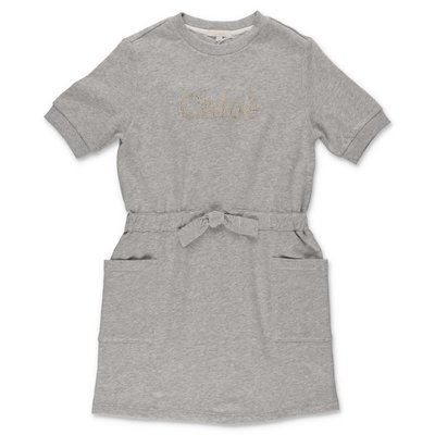 Chloé melange grey cotton sweatshirt dress