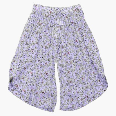 Floral print sky blue viscose pants