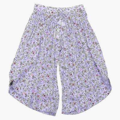 Pantaloni celesti stampa floreale in viscosa