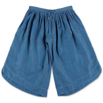 Chloé pantaloni svasati blu in denim di cotone