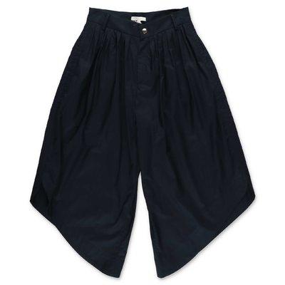 Chloé navy blue cotton poplin leg wide pants