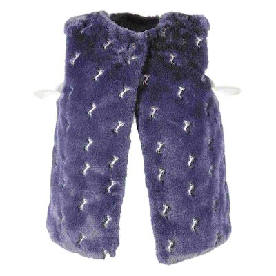 blue navy embroidered faux fur gilet