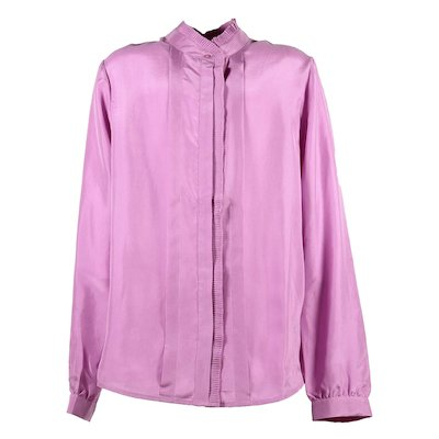 pink silk ruffle trim shirt