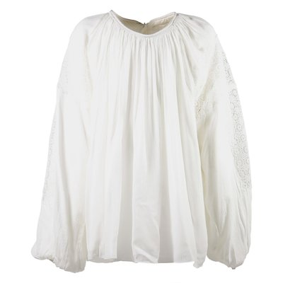 White viscose crepe blouse with lace details