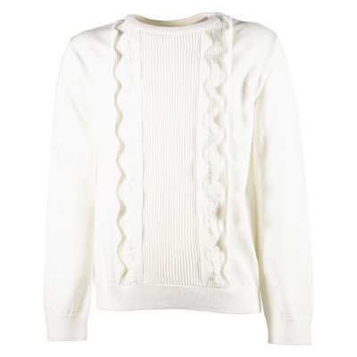 White mixed cotton wool pullover