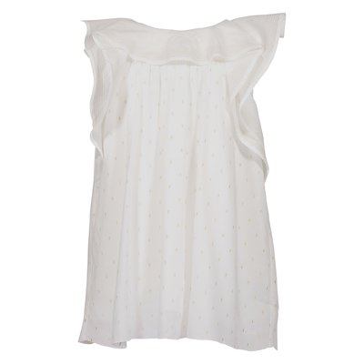 Blusa bianca con ruches in viscosa