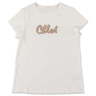 Chloé logo white cotton jersey t-shirt
