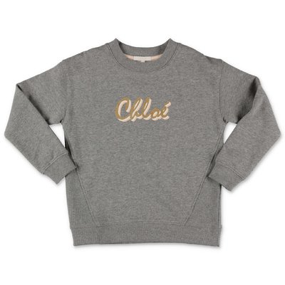 Chloé logo melange grey cotton sweatshirt