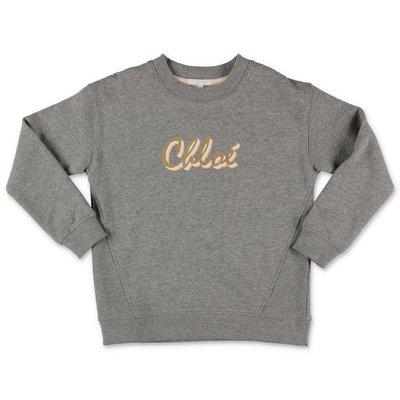 Chloé felpa grigio melange in cotone con logo