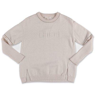 Chloé white cotton & wool knit jumper