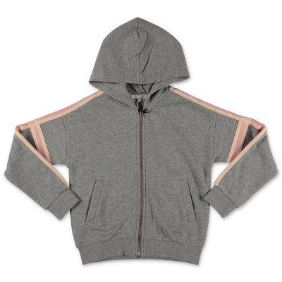 Chloé felpa grigio melange in cotone con logo e cappuccio