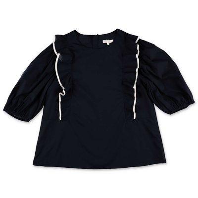 Chloé blusa blu navy in mussola di cotone doppiata