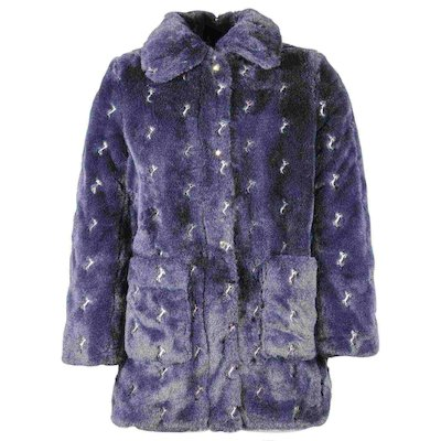 Navy blue faux fur coat with emboidered Iconic Horses