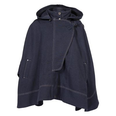 Navy blue cotton hooded cape