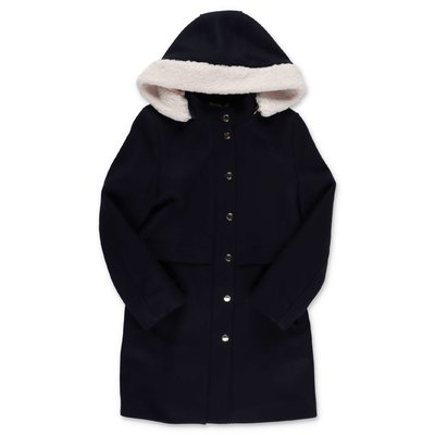 Chloé dark blue wool cloth coat with hood
