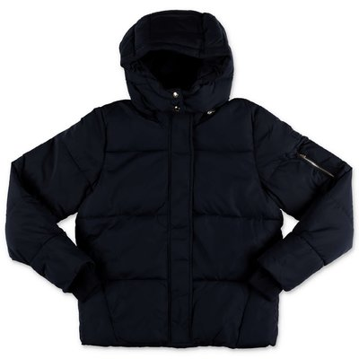 Chloé navy blue nylon down jacket with hood