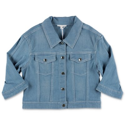 Chloé giacca blu in denim di cotone stretch