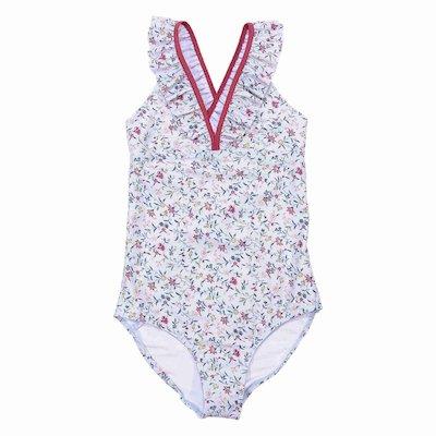 Floral print one piece lycra swimsuit