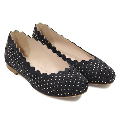 Navy blue suede studded Lauren ballerinas