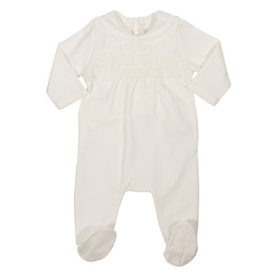 White cotton jersey romper with embroideries