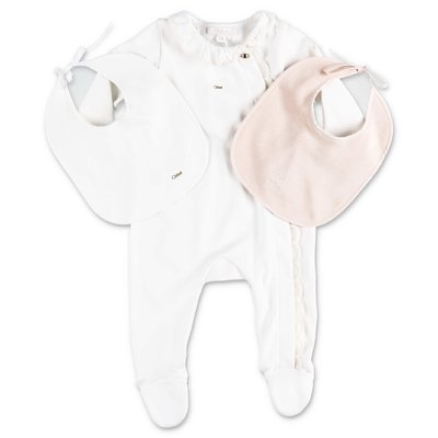 Chloé cotton jersey three piece set with pink bib and white romper & bib
