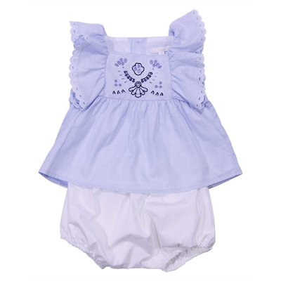 Sky blue cotton oxford top and white cotton poplin diaper cover
