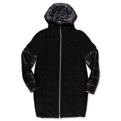 HERNO black wool blend & nylon coat with hood