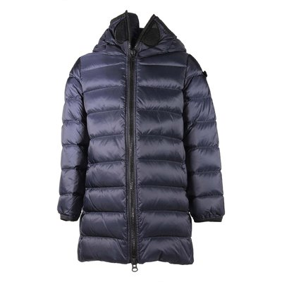 Blue down jacket with hood