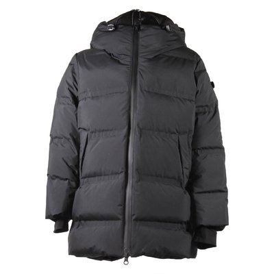 Black nylon hooded down jacket