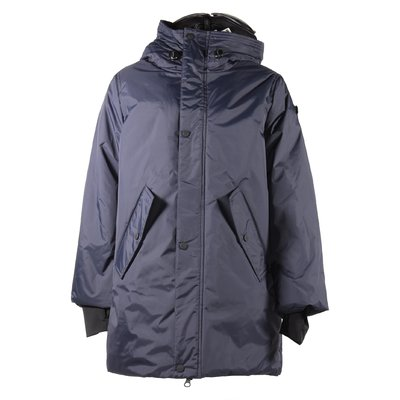 Blue nylon hooded padded jacket