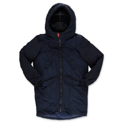 AI RIDERS ON THE STORM navy blue nylon parka jacket with hood