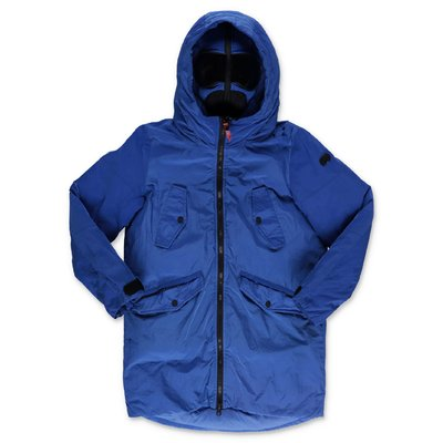 AI RIDERS ON THE STORM royal blue nylon parka jacket with hood