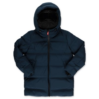 AI RIDERS ON THE STORM blue nylon down feather jacket with hood