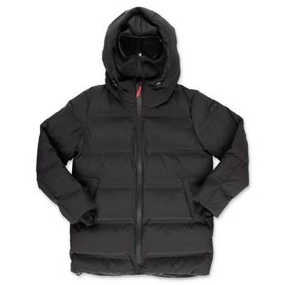 AI RIDERS ON THE STORM black nylon down feather jacket with hood