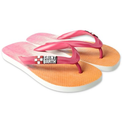 MC2 Saint Barth pink and orange rubber thong sandals