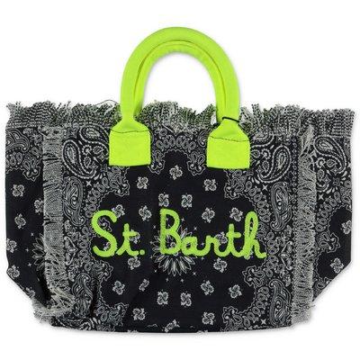 MC2 St Barth black paisley print cotton canvas bag