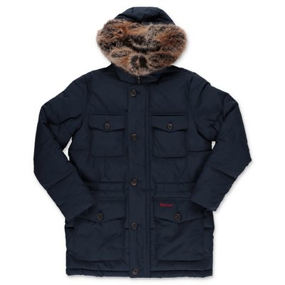 Barbour navy blue nylon Morton down jacket with hood