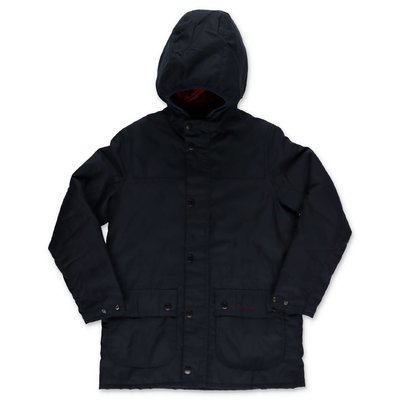 Barbour Durham dark blue nylon hooded jacket