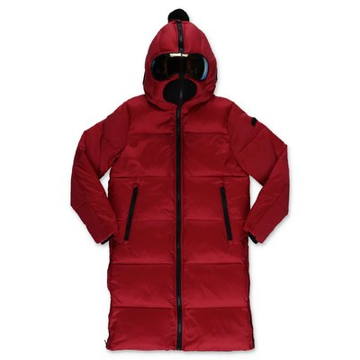 AI RIDERS ON THE STORM red nylon down feather jacket with hood
