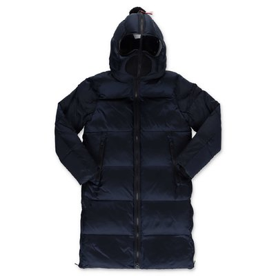 AI RIDERS ON THE STORM navy blue nylon down jacket with hood