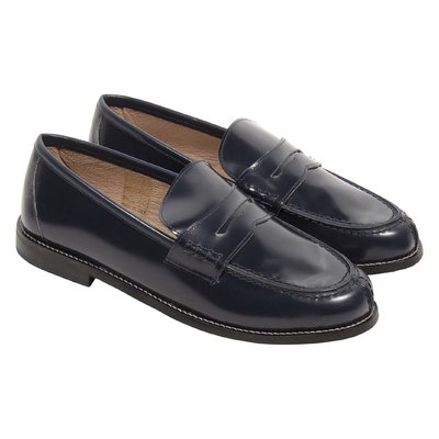 Dark blue leather loafers