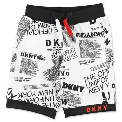 DKNY white printed techno fabric shorts
