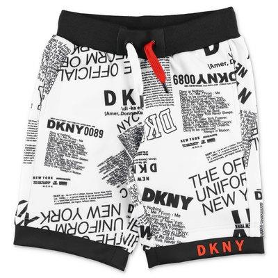 DKNY shorts bianchi stampati in techno tessuto
