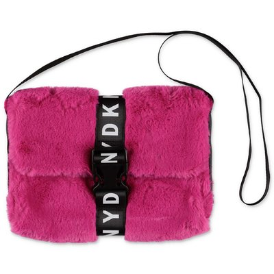 DKNY fuchsia faux fur shoulder bag