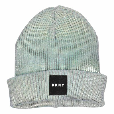Blue cotton blend logo beanie hat