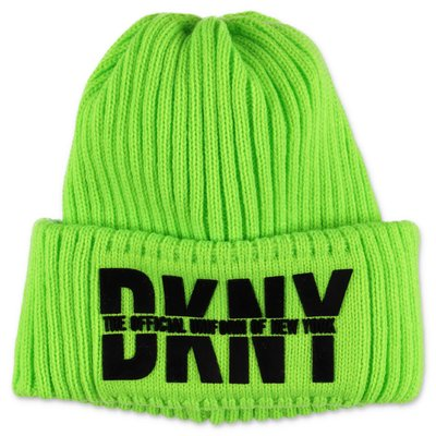 DKNY fluorescent green logo knit hat