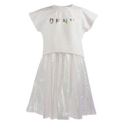 White top techno fabric dress set