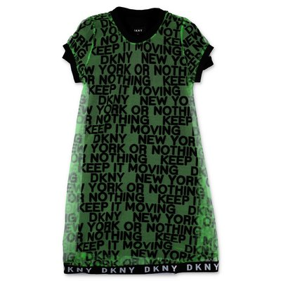 DKNY green techo fabric two-piece dress with lining