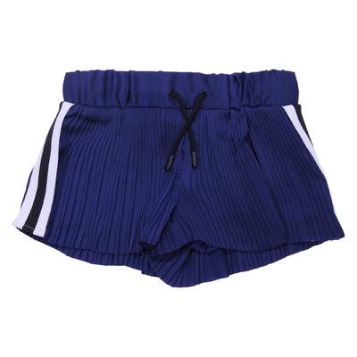 Blue pleated satin shorts